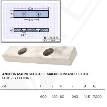 Anodo in Magnesio G.D.F serie Corrubia II