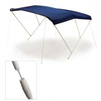 Capottina Tendalino Parasole 3 Archi in Alluminio Verniciato Bianco Telo Blu